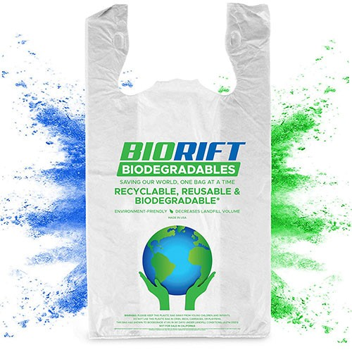 BioRift 100% Biodegradable T-Shirt Bag - Shown With Earth and Hands